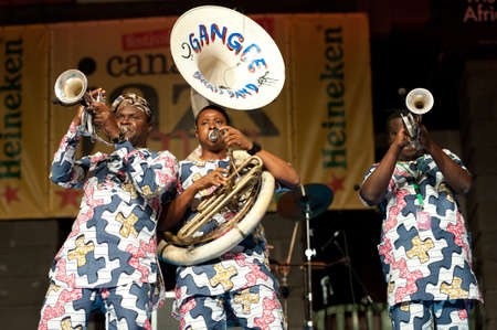 CANARY ISLANDS - JULY 8: Musicians from Gangbe Brass Band, from Cotonou-Benin in West Africa, performing onstage during Festival Canarias Jazz & mas July 8, 2011 in Las Palmas, Canary Islands, Spain
