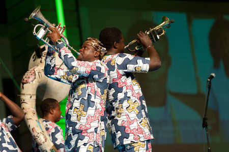 canarias: CANARY ISLANDS - JULY 8: Musicians from Gangbe Brass Band, from Cotonou-Benin in West Africa, performing onstage during Festival Canarias Jazz & mas July 8, 2011 in Las Palmas, Canary Islands, Spain