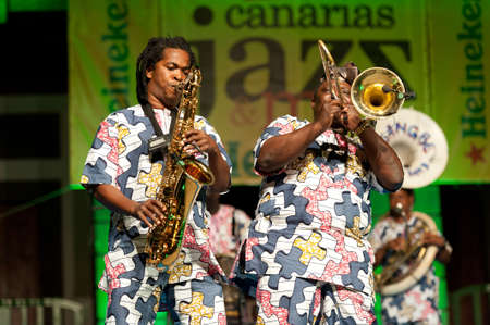 canarias: CANARY ISLANDS - JULY 8:Gbaguidi Lucien and Ahouandinou W. Martial, from Cotonou-Benin in Africa, performing onstage during Festival Canarias Jazz July 8, 2011 in Las Palmas, Canary Islands, Spain