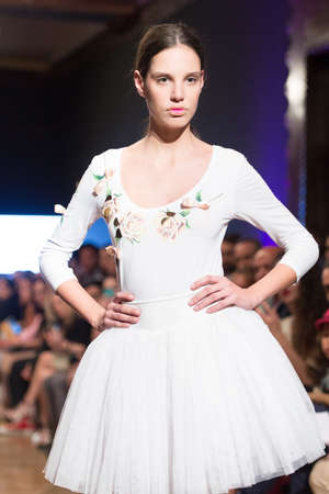 LAS PALMAS, SPAIN-MARCH 13, 2015: A model walks the runway wearing a wedding dress from designer Arcadio Dominguez during Gran Canaria Moda Calida 2016 Bridal Collection at Museum Nestor.