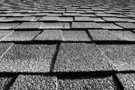 roof shingles: close up of roof shingles black and white Stock Photo
