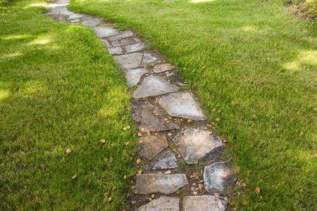 Een opstap traject omgeven door groen gras Stockfoto