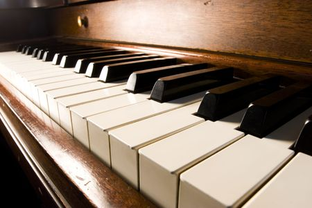 piano lesson: Piano key closeup