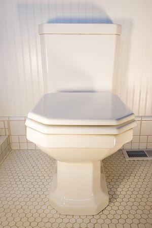 pedestal sink: A simple white toilet Stock Photo