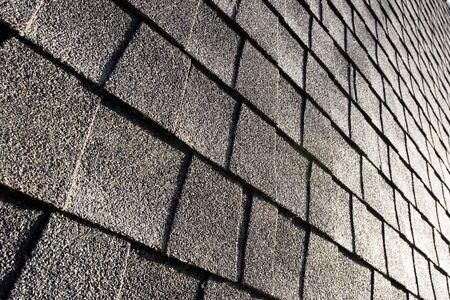 abstract, angled shot of roof shingles