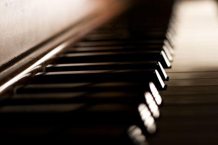 Piano keys on an antique piano