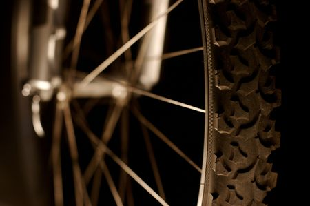 Detail of a bicicle tire and wheel photo