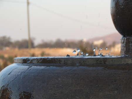 Drops in the fountain.