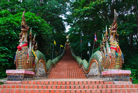 doi: Nagas stairs at Wat Doi Suthep temple, Chiang Mai