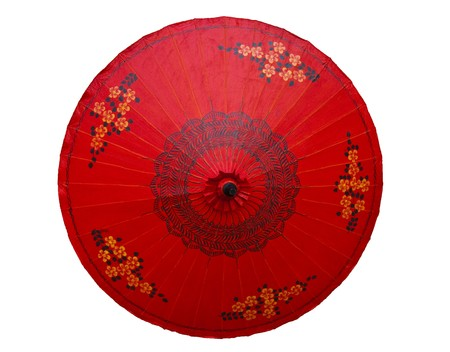 Red umbrella with flower pattern Stock Photo