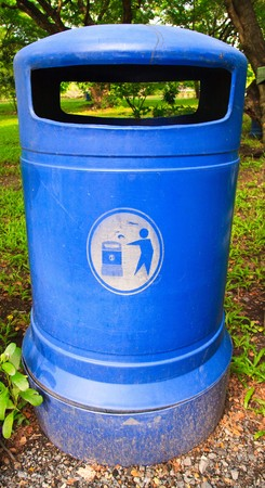 Blue garbage bin Stock Photo - 7689951