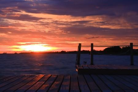 Sunset at pier Stock Photo - 7689928