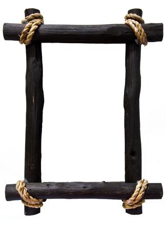 Dark brown wooden frame on wihte background isolated Foto de archivo