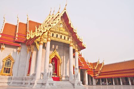 curch: Curch of Wat Benchamabopit in tilted Stock Photo