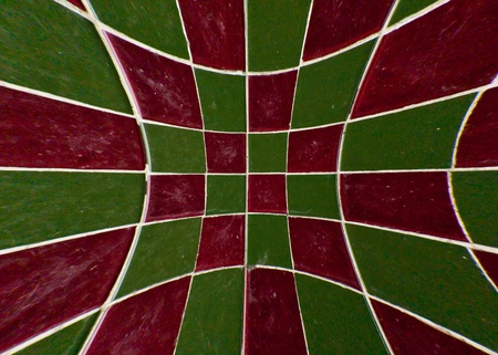 Red and green tile checkerboard on mable floor blast out photo