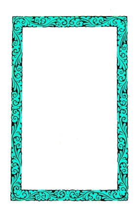 Blue chinese style frame isolated on white background Stock Photo - 10103727
