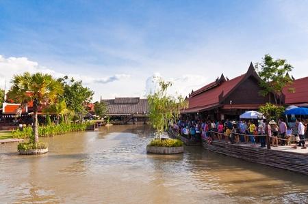 Ayothaya floating market onJuly 10 ,2011. Ayutthaya province Thailand.