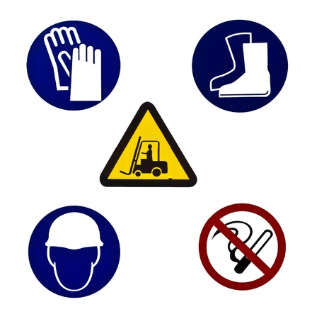 safety gloves: Five color Warning sign for industrial use isolated on white background