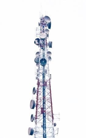 Telephone broadcast radio pole isolated on white background Foto de archivo