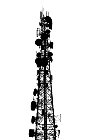 Telephone broadcast radio pole silhouette on white background