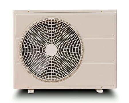 White metal air compressor isolated on white background Foto de archivo