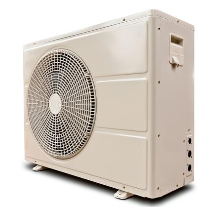 compresor: Compresor de aire de metal blanco inclinado izquierdo aislado sobre fondo blanco
