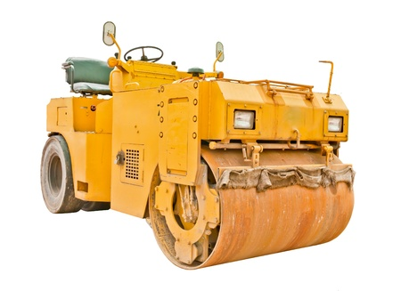vibroroller: Yellow steamroller isolated on white background