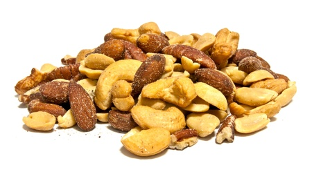 Mixed nuts included cashew,  almonds, pecans and peanuts isolated on white background photo