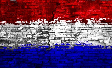 Holland flag painted on old brick wall Stock Photo - 10881147