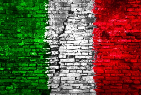 Italy flag painted on old brick wall