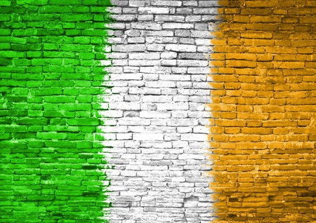 Ireland flag painted on old brick wall photo