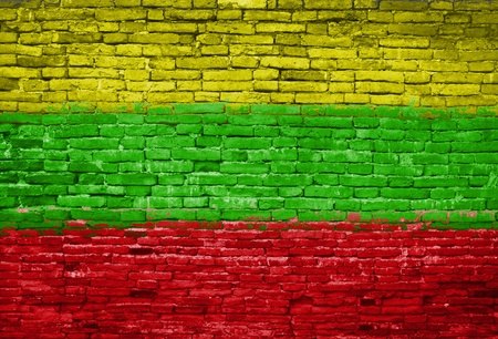 lithuania: Lithuania flag painted on old brick wall Stock Photo