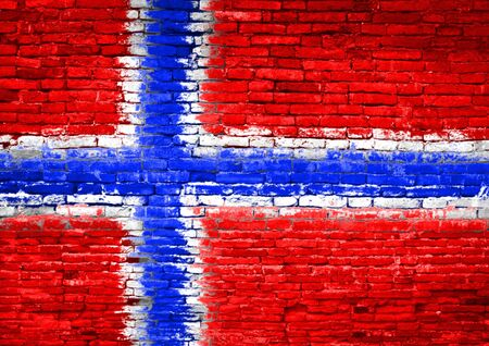norway flag: Norway flag painted on old brick wall Stock Photo