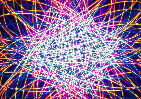 tangled: Colorful glowing tangled lines abstract on blue  background