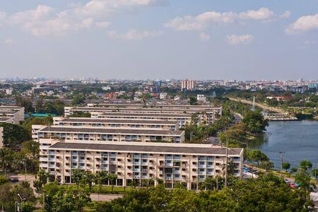 Bangkok cityscape with many condominium near canal