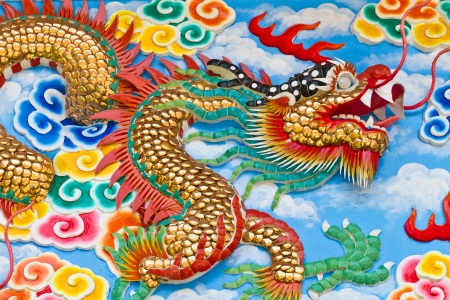 Dragon craft and painting mixed in Chinese temple in Thailand photo