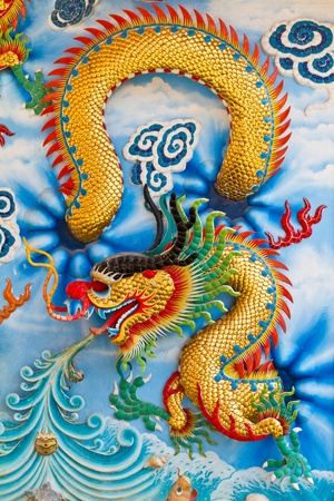 Dragon craft and painting mixed in Chinese temple in Thailand