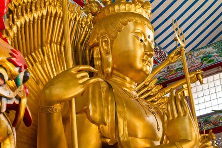 bodhisattva: Golden Bodhisattva Guan Yin with thousand hands statue