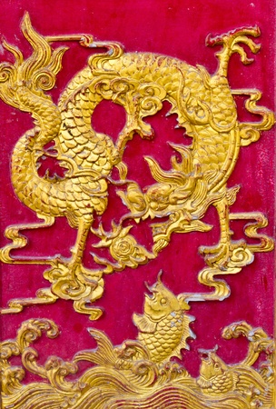 Dragon craft and painting mixed on wood in Chinese temple in Thailand