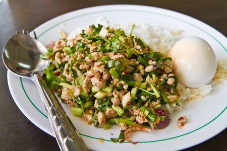 Cooked rice with spicy minced meat salad and boiled egg on dish photo