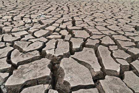 arid ground land cracked by drought from global warming