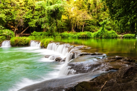 turqoise: Tropical waterfall in Thailand with turqoise  color water Stock Photo