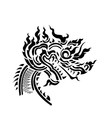 Dragon head Thai style pattern Illustration
