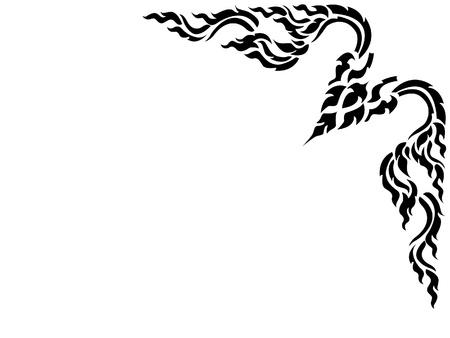 Thai style pattern corner frame illustration in black color