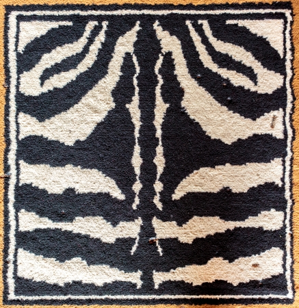 rug texture: Black and white tiger pattern rug texture surface