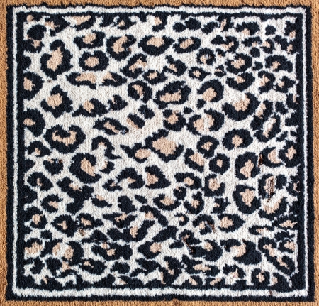 rug texture: Black and white leopard tiger pattern rug texture surface Stock Photo