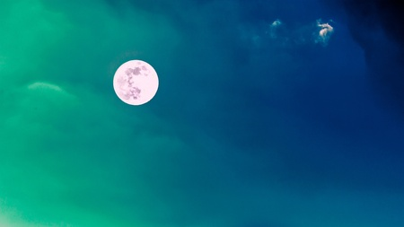 Beautiful full moon with clear blue sky in twilight time background photo