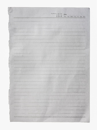 White lined paper surface isolated against white background photo