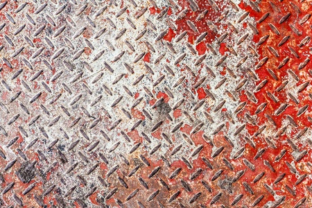 Red and white diamond pattern metal sheet surface seamless texture background photo