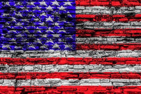 USA flag on cracked brick wall surface background texture photo